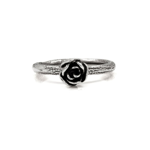 Silver rose ring - small