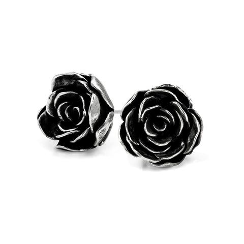 Silver rose studs