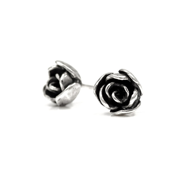 Silver rose studs - ready to wear