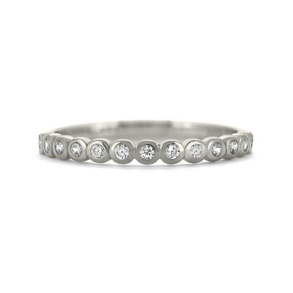Rubover set diamond wedding ring