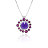 Halo pendant in sterling silver and gemstone - rhodolite garnet - with interlocking solo pendant in amethyst