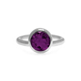 Sterling silver and rhodolite garnet solo ring