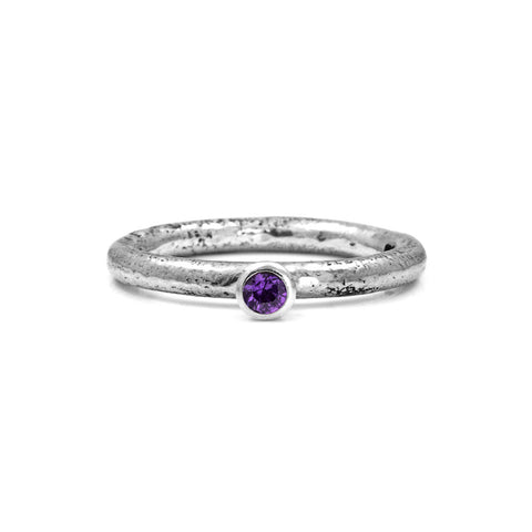 Silver twig and gemstone stacking ring - small