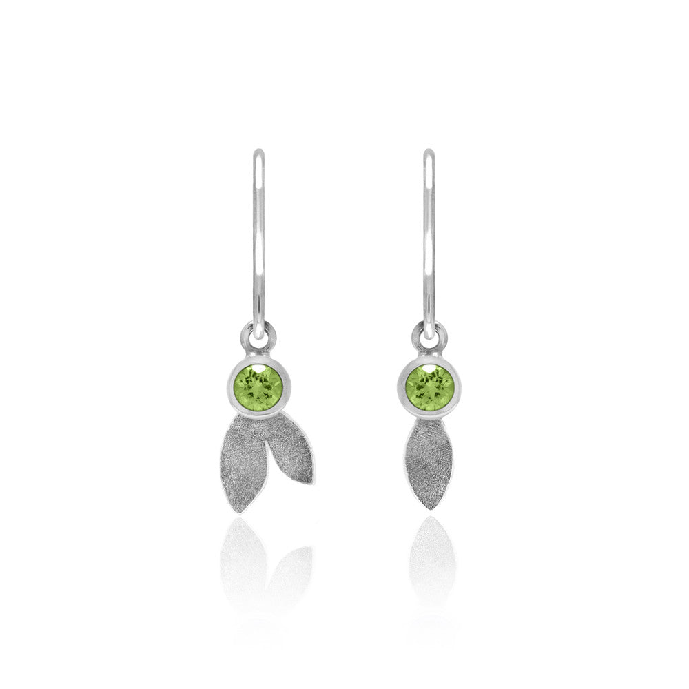 Spring earrings in sterling silver and gemstone