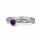 Silver twig and gemstone stacking ring - large
