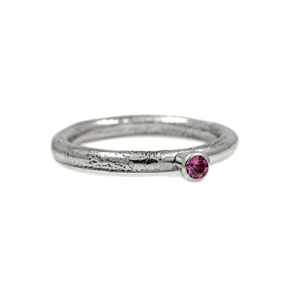 Silver twig and gemstone stacking ring - small - ready to wear