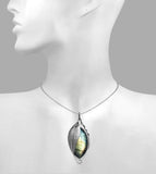 Sweeping leaf pendant with labradorite