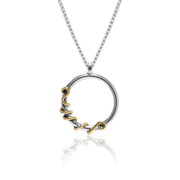Tendril pendant in sterling silver and 9ct gold