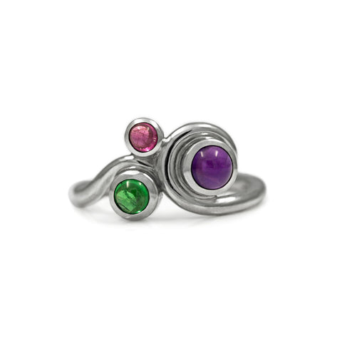 Entwine three stone gemstone engagement ring - sterling silver, amethyst, tsavorite garnet and pink tourmaline