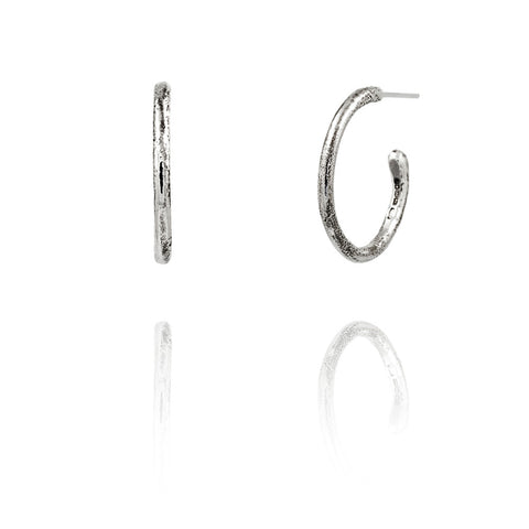 Silver twig hoop earrings - interchangeable charms