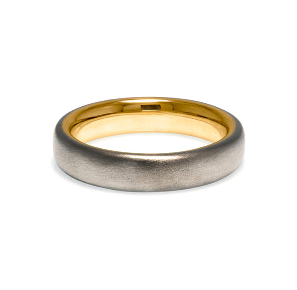 Court shaped wedding band two-tone gold brushed finish