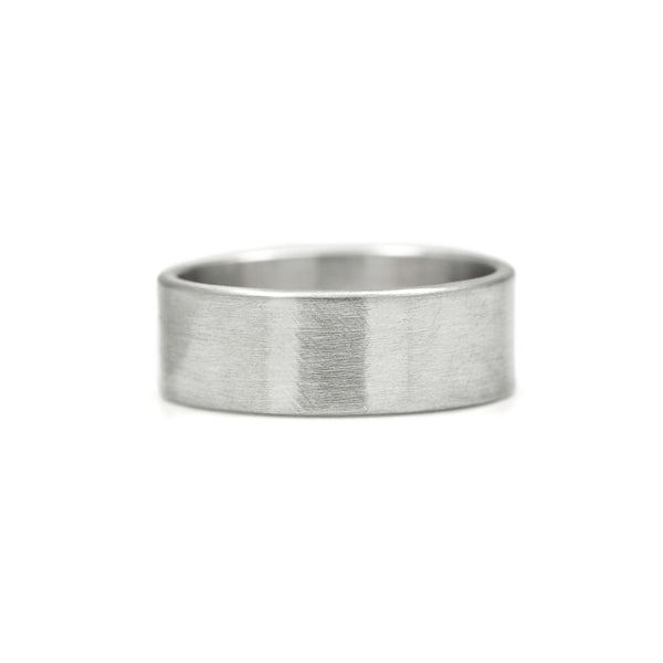 Flat wedding band platinum brushed