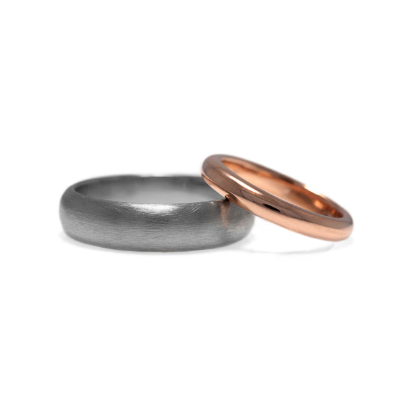 Court shaped wedding band palladium and rose gold