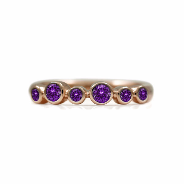 Halo half eternity ring - 9ct rose gold and amethyst
