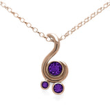Entwine three stone gemstone pendant in 9ct gold - rose gold and amethyst