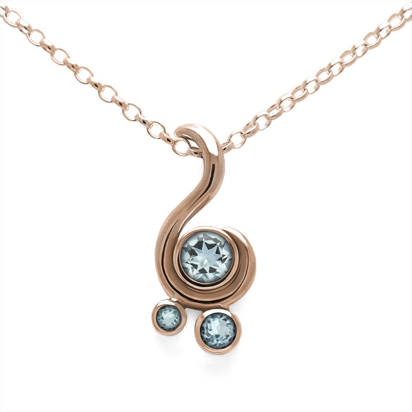 Entwine three stone gemstone pendant in 9ct gold - rose gold and aquamarine