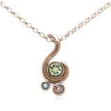 Entwine three stone gemstone pendant in 9ct gold - rose gold, green beryl, morganite and aquamarine