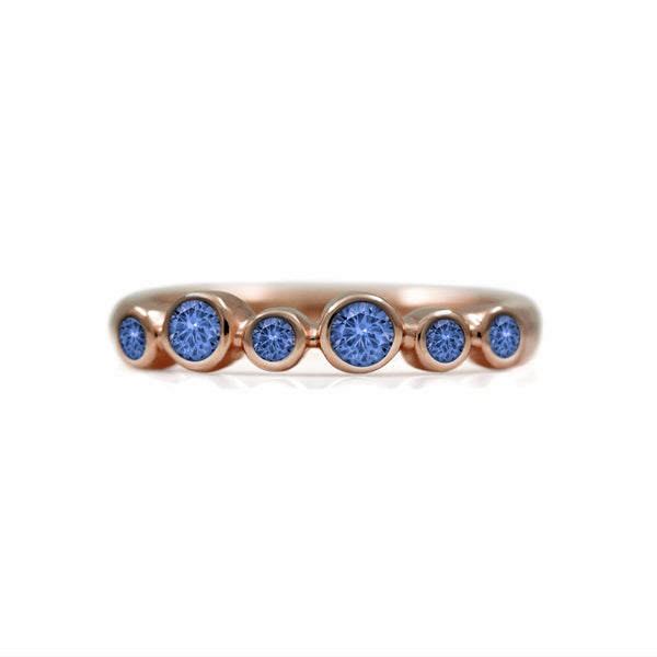 Halo half eternity ring - 9ct rose gold and blue sapphire