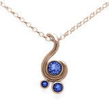Entwine three stone gemstone pendant in 9ct gold - rose gold and blue sapphire