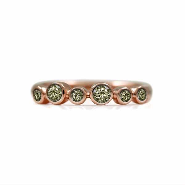 Halo eternity diamond ring - 18ct rose gold and champagne diamond