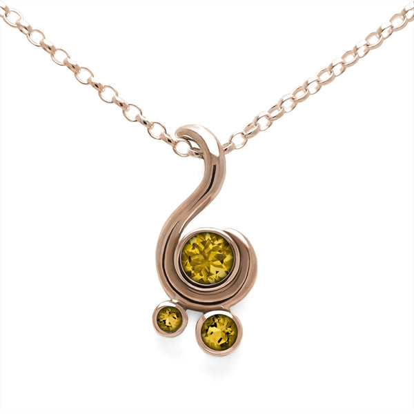Entwine three stone gemstone pendant in 9ct gold - rose gold and citrine