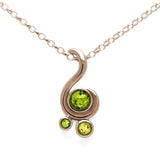 Entwine three stone gemstone pendant in 9ct gold - rose gold, peridot and lemon quartz