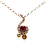 Entwine three stone gemstone pendant in 9ct gold - rose gold, garnet and citrine