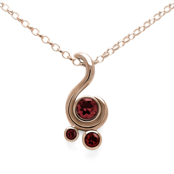 Entwine three stone gemstone pendant in 9ct gold - rose gold and red garnet