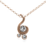 Entwine three stone gemstone pendant in 9ct gold - rose gold and white sapphire