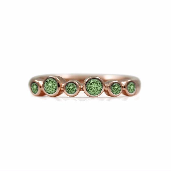 Halo half eternity ring - 9ct rose gold and green sapphire