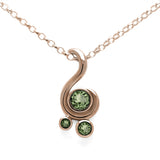 Entwine three stone gemstone pendant in 9ct gold - rose gold and green sapphire