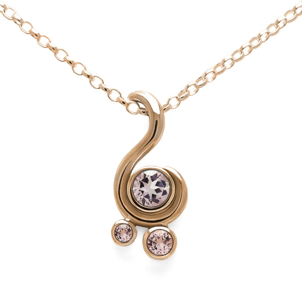 Entwine three stone gemstone pendant in 9ct gold - rose gold and morganite