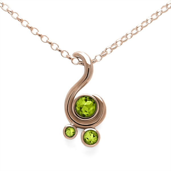 Entwine three stone gemstone pendant in 9ct gold - rose gold and peridot
