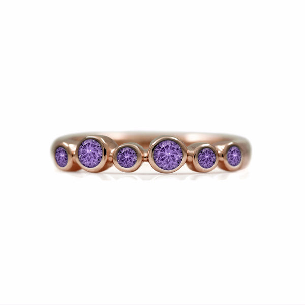 Halo half eternity ring - 9ct rose gold and purple sapphire