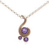 Entwine three stone gemstone pendant in 9ct gold - rose gold and purple sapphire