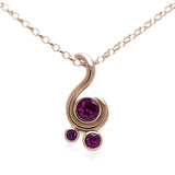 Entwine three stone gemstone pendant in 9ct gold - rose gold and rhodolite garnet