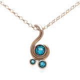 Entwine three stone gemstone pendant in 9ct gold - rose gold and blue topaz