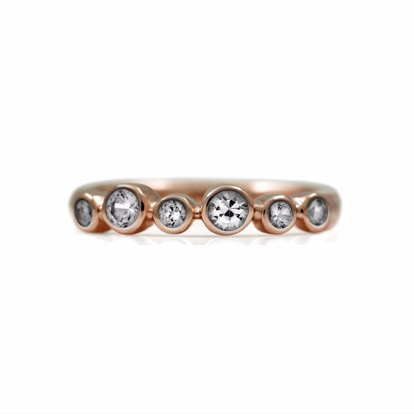 Halo half eternity ring - 9ct rose gold and white sapphire