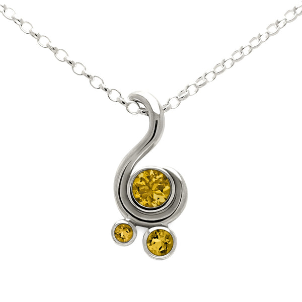 Entwine three stone gemstone pendant in sterling silver - citrine