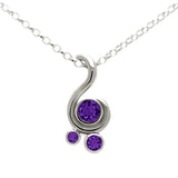 Entwine three stone gemstone pendant in sterling silver - amethyst