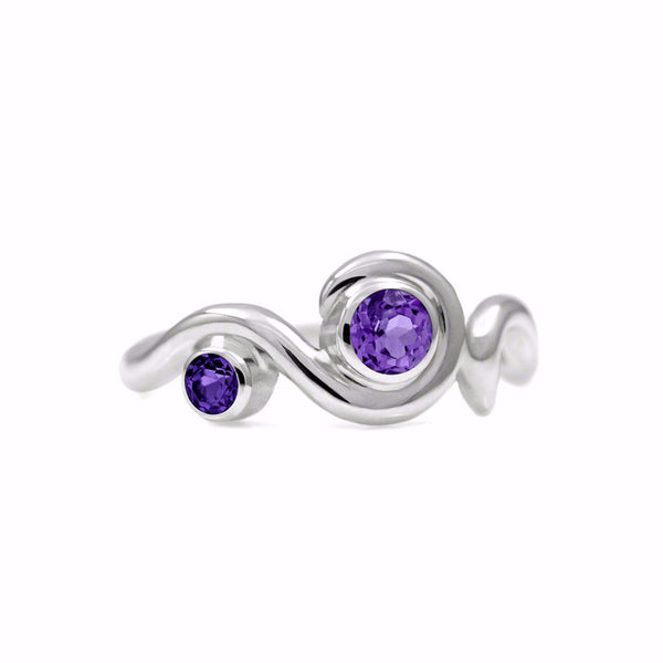 Entwine two stone gemstone engagement ring  - sterling silver and amethyst