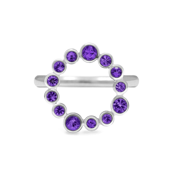 Sterling silver halo ring - amethyst
