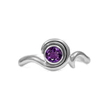 Entwine solitaire engagement ring in sterling silver - amethyst