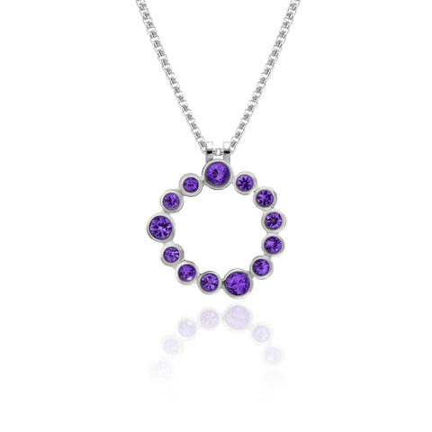 Halo pendant in sterling silver and gemstone - amethyst