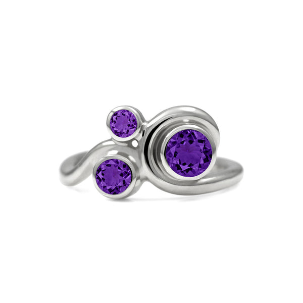 Entwine trilogy engagement ring in sterling silver and gemstone - amethyst