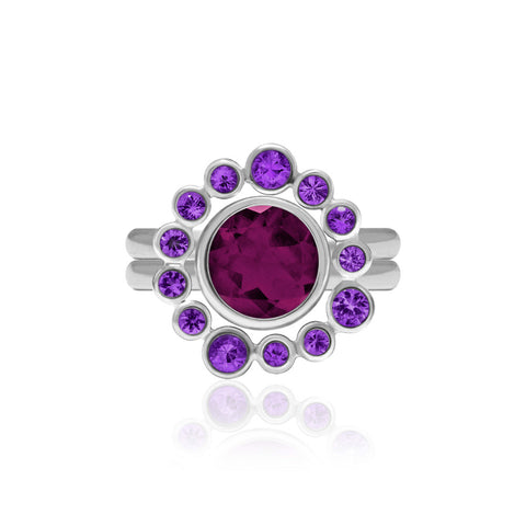 Sterling silver and amethyst halo ring with interlocking rhodolite garnet solo ring