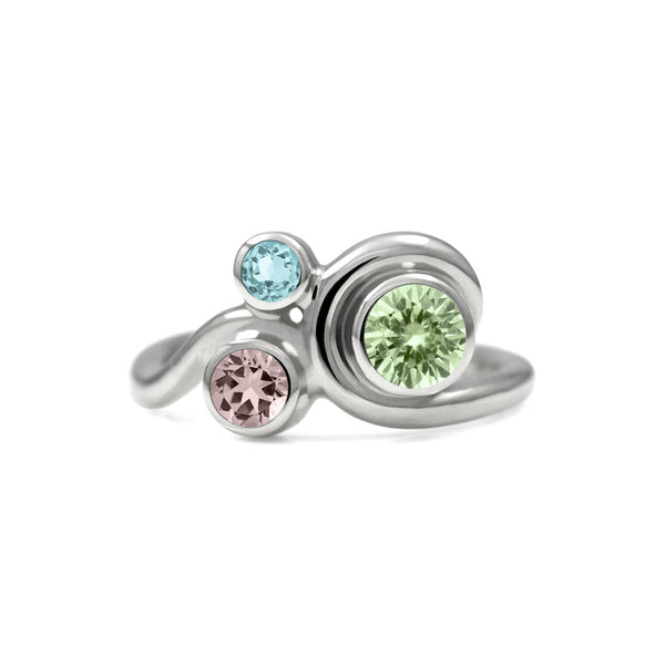 Entwine trilogy engagement ring in sterling silver and gemstone - beryl