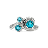 Entwine trilogy engagement ring in sterling silver and gemstone - blue topaz