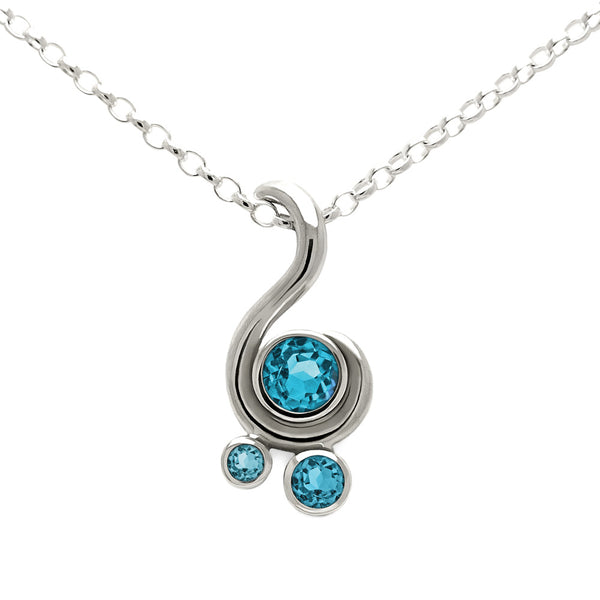 Entwine three stone gemstone pendant in sterling silver - blue topaz