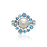 Pair of interlocking halo rings in sterling silver, blue topaz and pearl